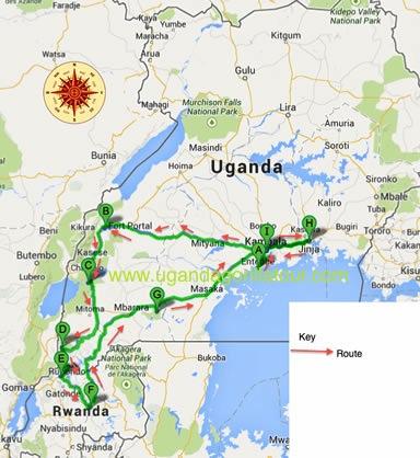 14 Days Uganda Rwanda Safari map