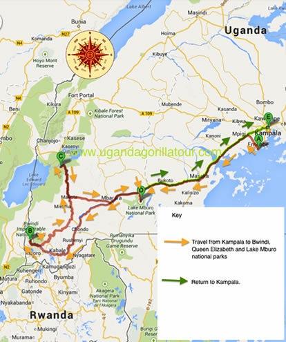 5 Days uganda safari map