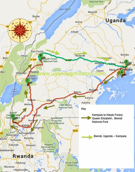 7 days uganda safari map