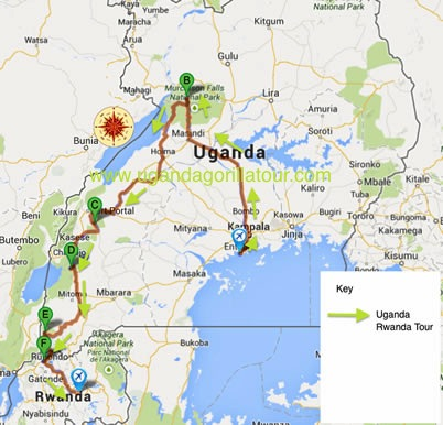 10 Days Uganda Safari map
