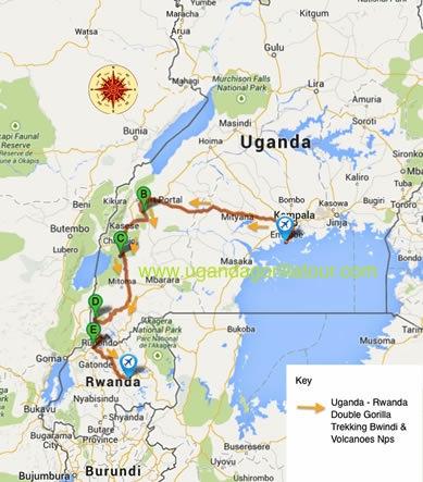 11 Days Uganda Rwanda Safari map