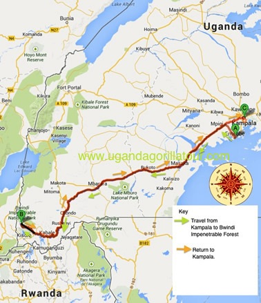 3 Days uganda gorilla tour map