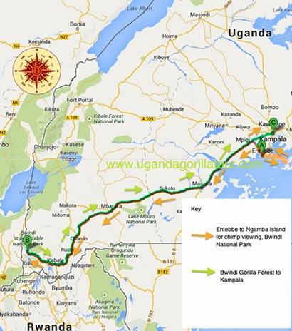 3 Days gorilla tour & Ngamba island chimps map