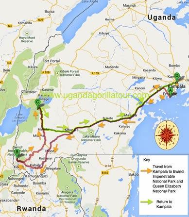 4 Days uganda gorilla tour map